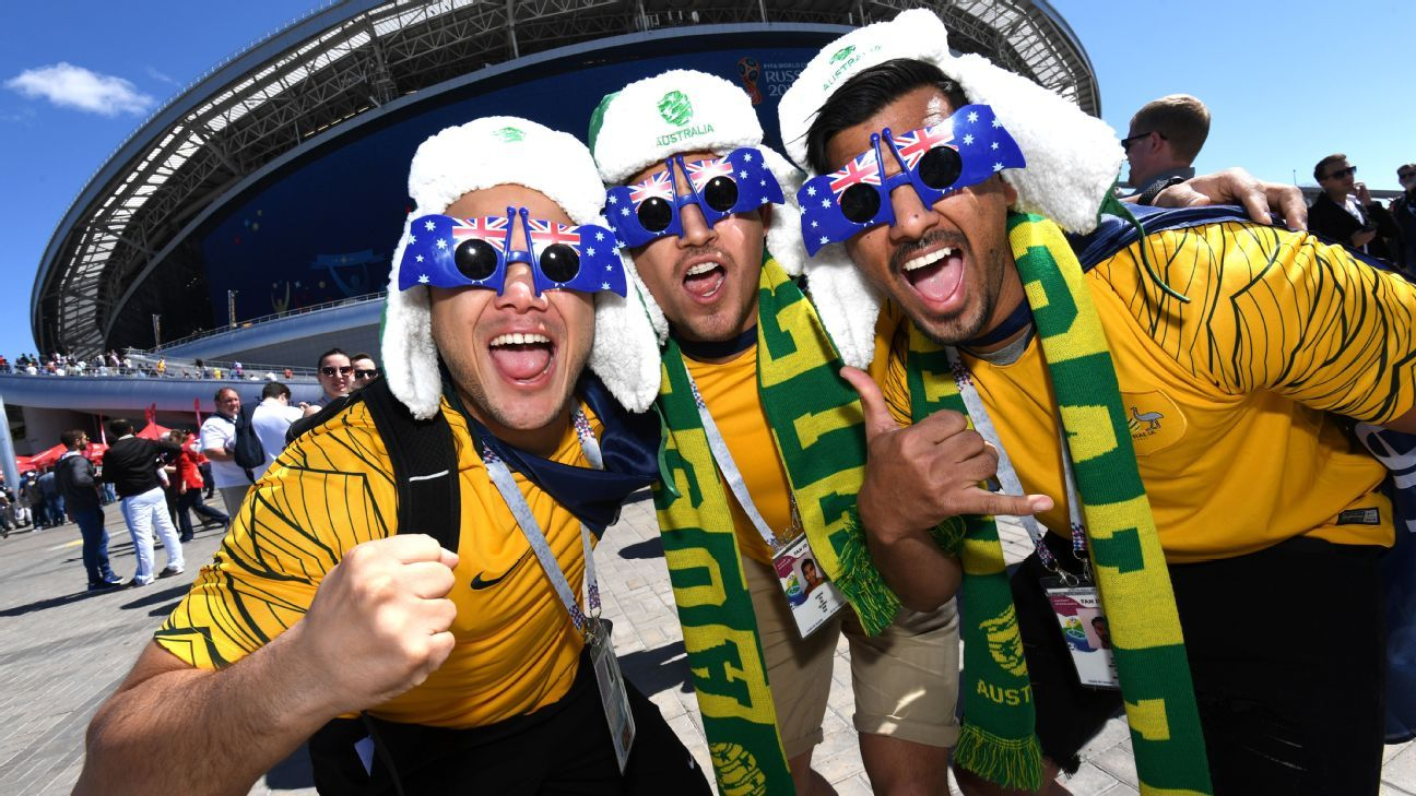 Australia fans enjoy the pre match atmosphere prior to the 2018 FIFA World Cup Russia group C match against France.