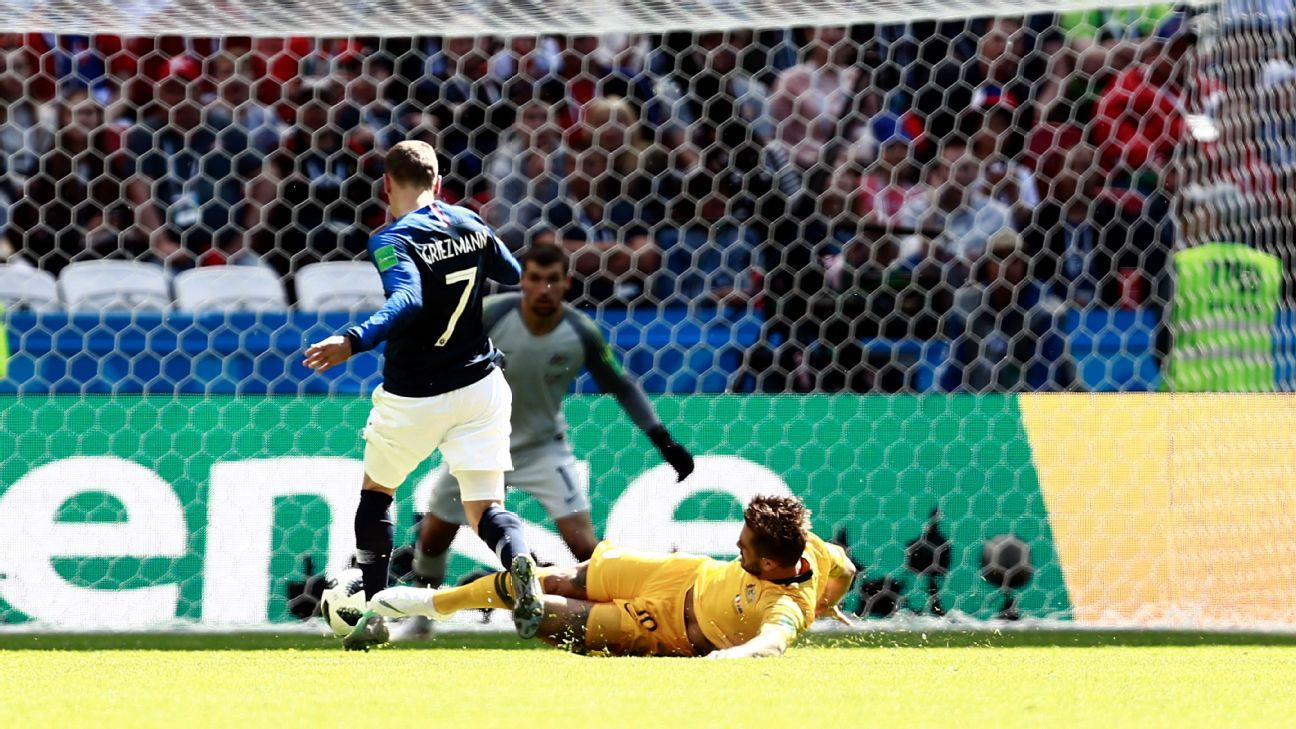 Antoine Griezmann is fouled by Joshua Risdon, leading to a penalty given through VAR.