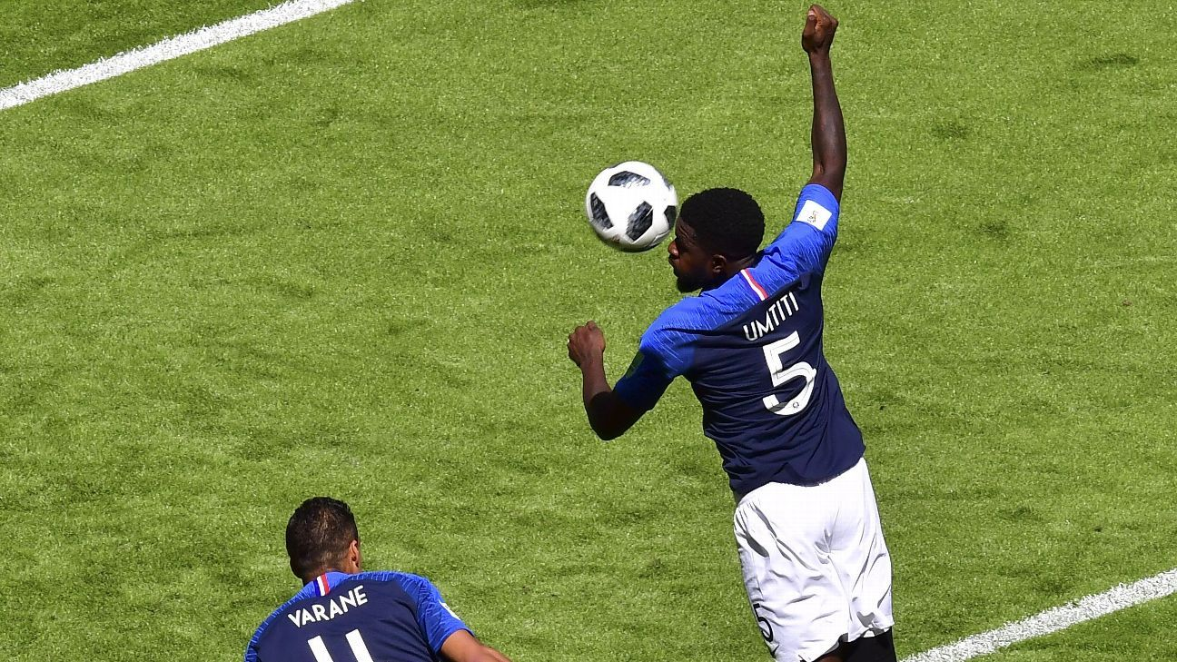 Samuel Umtiti's handball gave Australia a route back into the game.