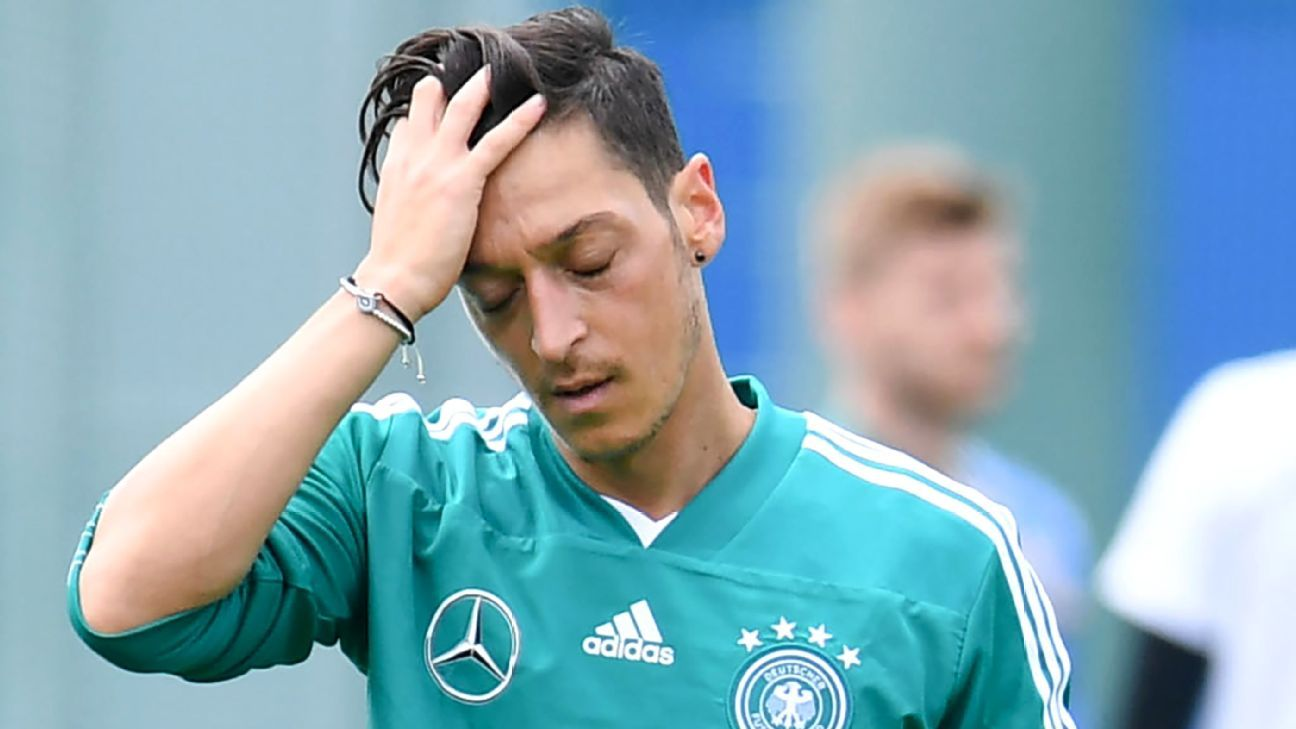 Mesut Ozil reacts during a training session with Germany ahead of their World Cup opener vs. Mexico.