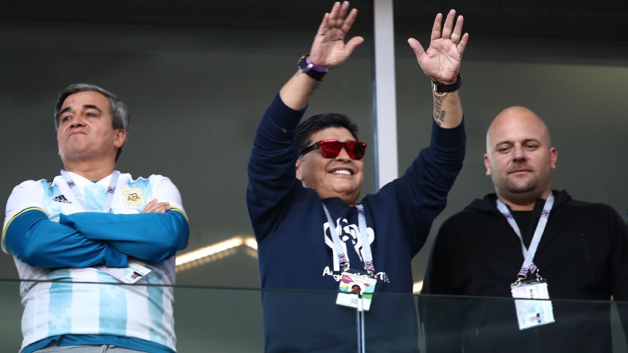 Diego Maradona pictured during Argentina's World Cup game against Iceland.