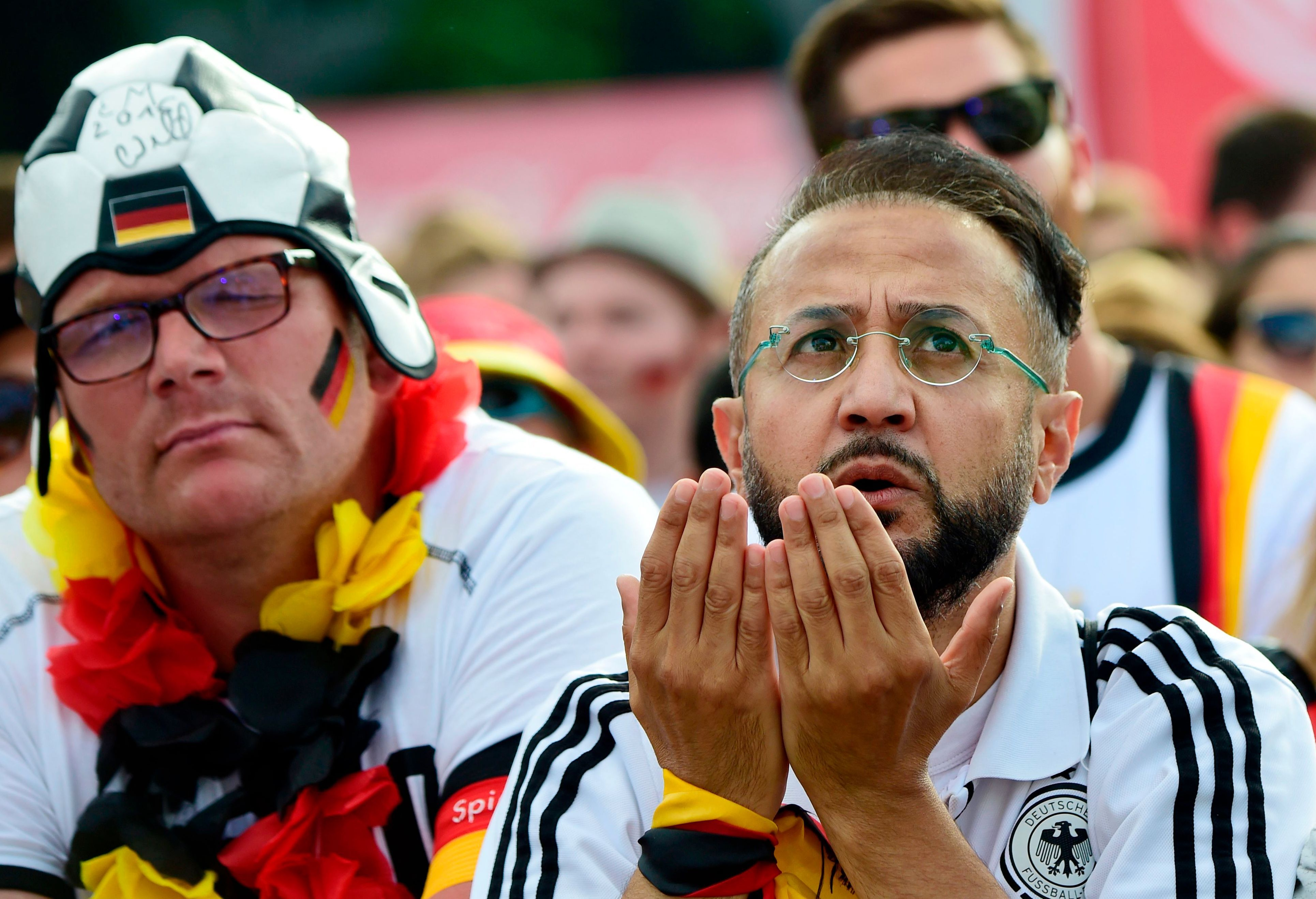 German fans had nothing to cheer about in their surprising 1-0 defeat to Mexico.