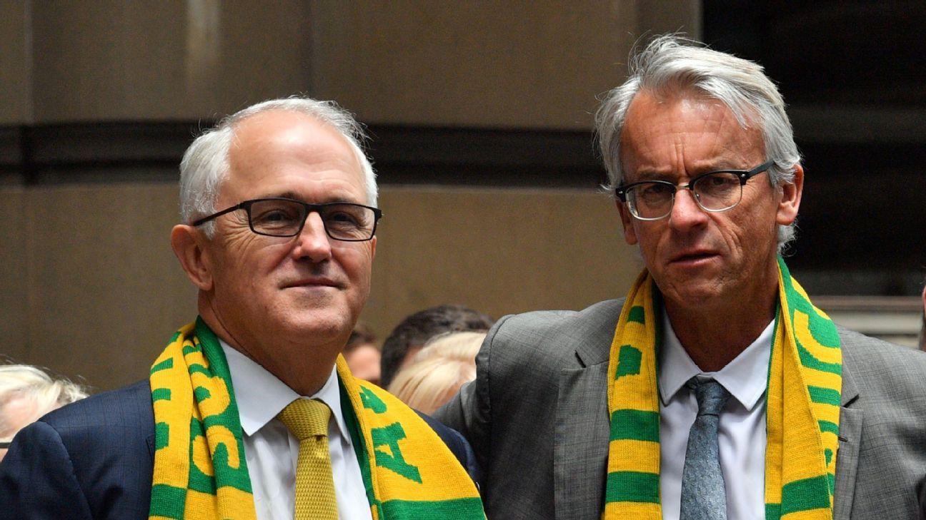 Australian prime minister Malcolm Turnbull and FFA chief executive David Gallop