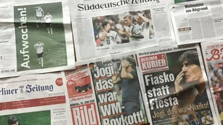 Germany's newspapers after World Cup defeat to Mexico