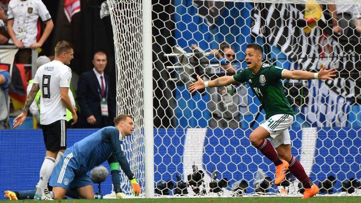 Mexico's Javier 'Chicharito' Hernandez celebrates Hirving Lozano's goal past Germany goalkeeper Manuel Neuer