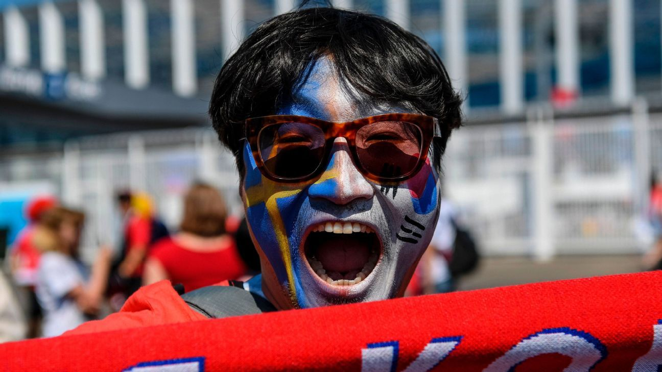 A South Korean fan outside Nizhny Novgorod Stadium ahead of the World Cup match vs. Sweden
