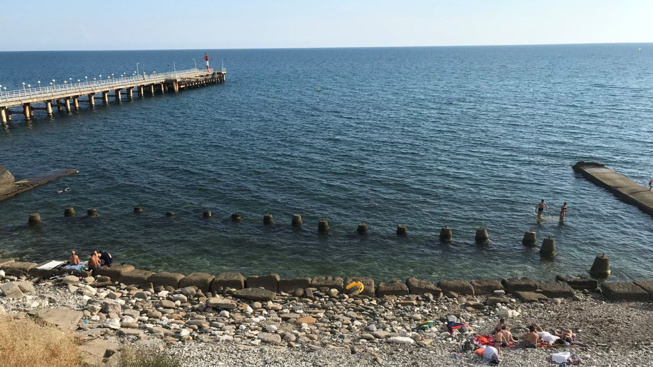 The view of the Black Sea from the Sochi train station.