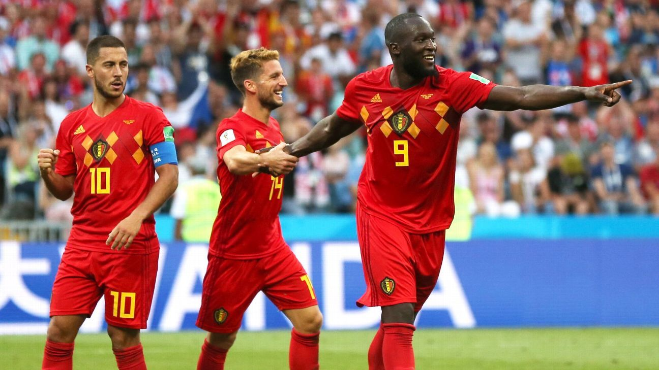 SOCHI, RUSSIA - JUNE 18:  Romelu Lukaku of Belgium celebrates after scoring his team's second goal with team mates Dries Mertens and Eden Hazard during the 2018 FIFA World Cup Russia group G match between Belgium and Panama at Fisht Stadium on June 18, 20