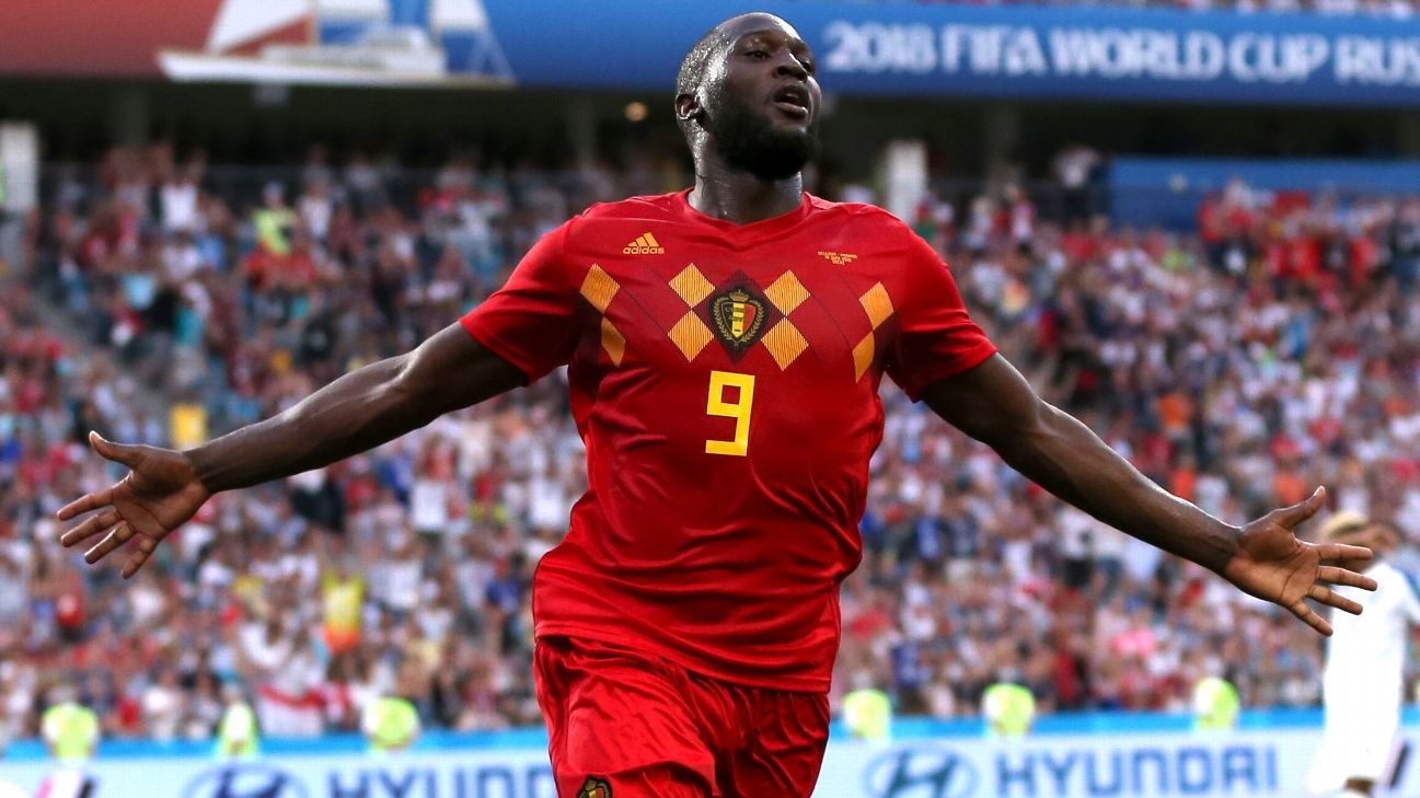 Romelu Lukaku of Belgium celebrates after scoring his second, and his team's third goal.