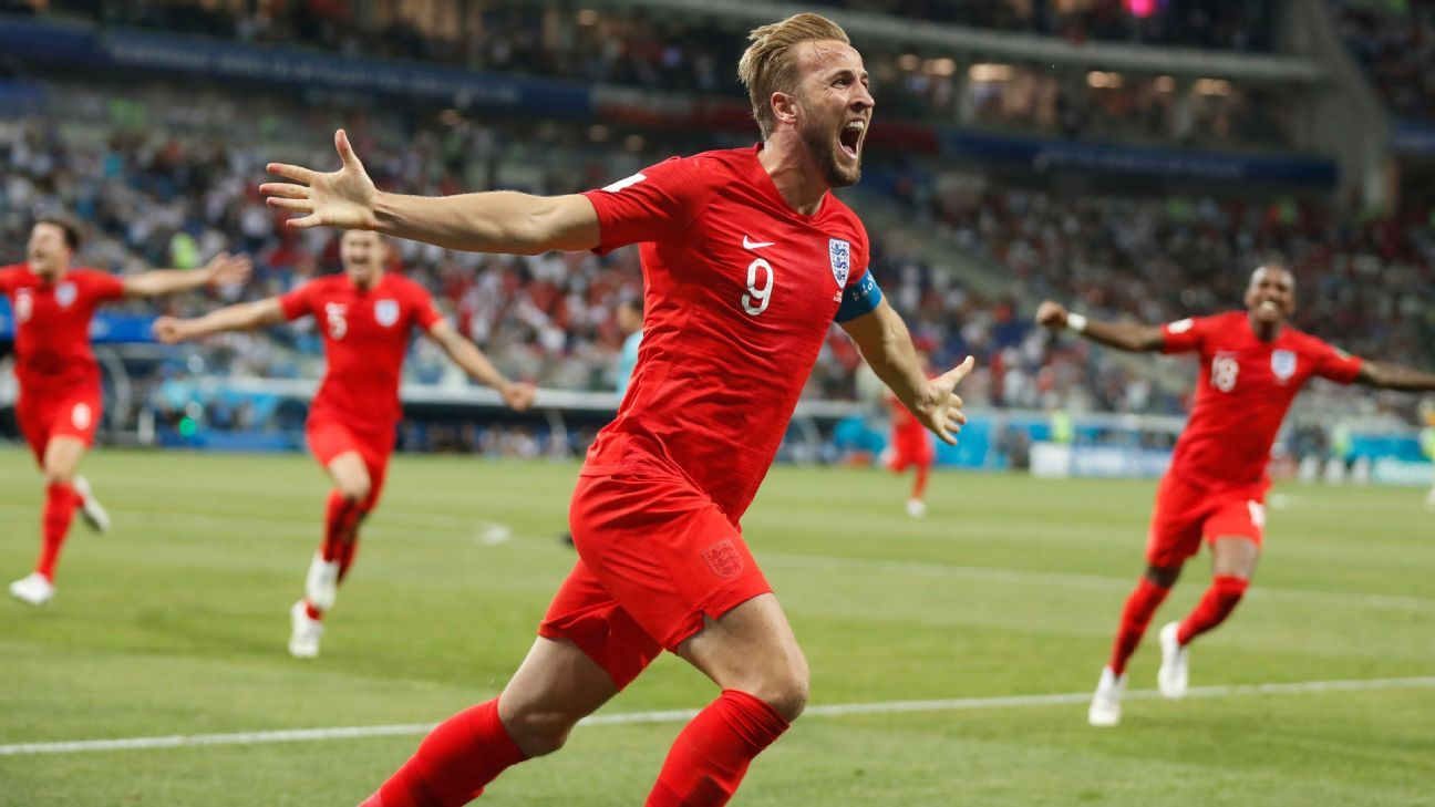 Harry Kane of England celebrates after scoring the winner.