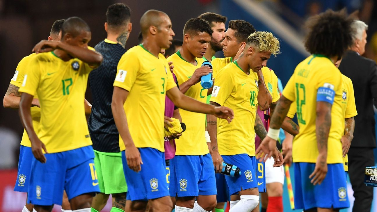 Brazil players during their World Cup game against Switzerland.