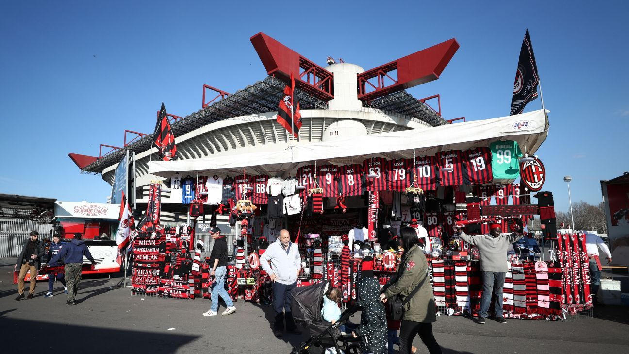 A merchandise stall outside the San Siro in Milan.