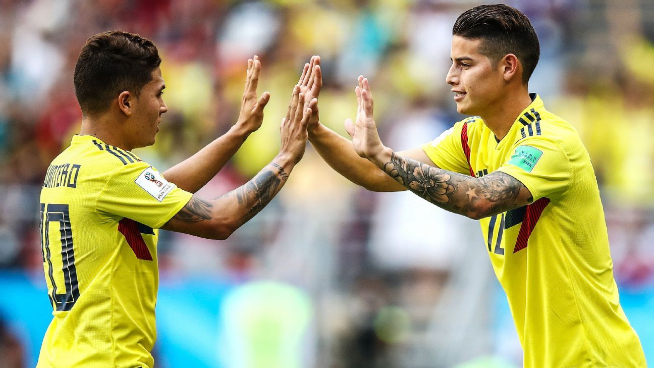 James Rodriguez came on for Juan Quintero in the second half.