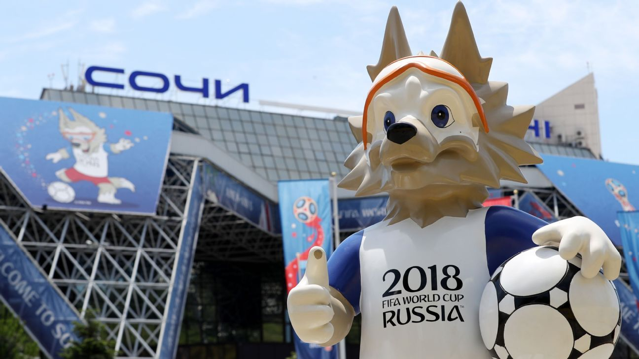 Welcome to Russia! A sculpture of Zabivaka the Wolf, the official World Cup mascot, gets his pride on at Sochi International Airport.