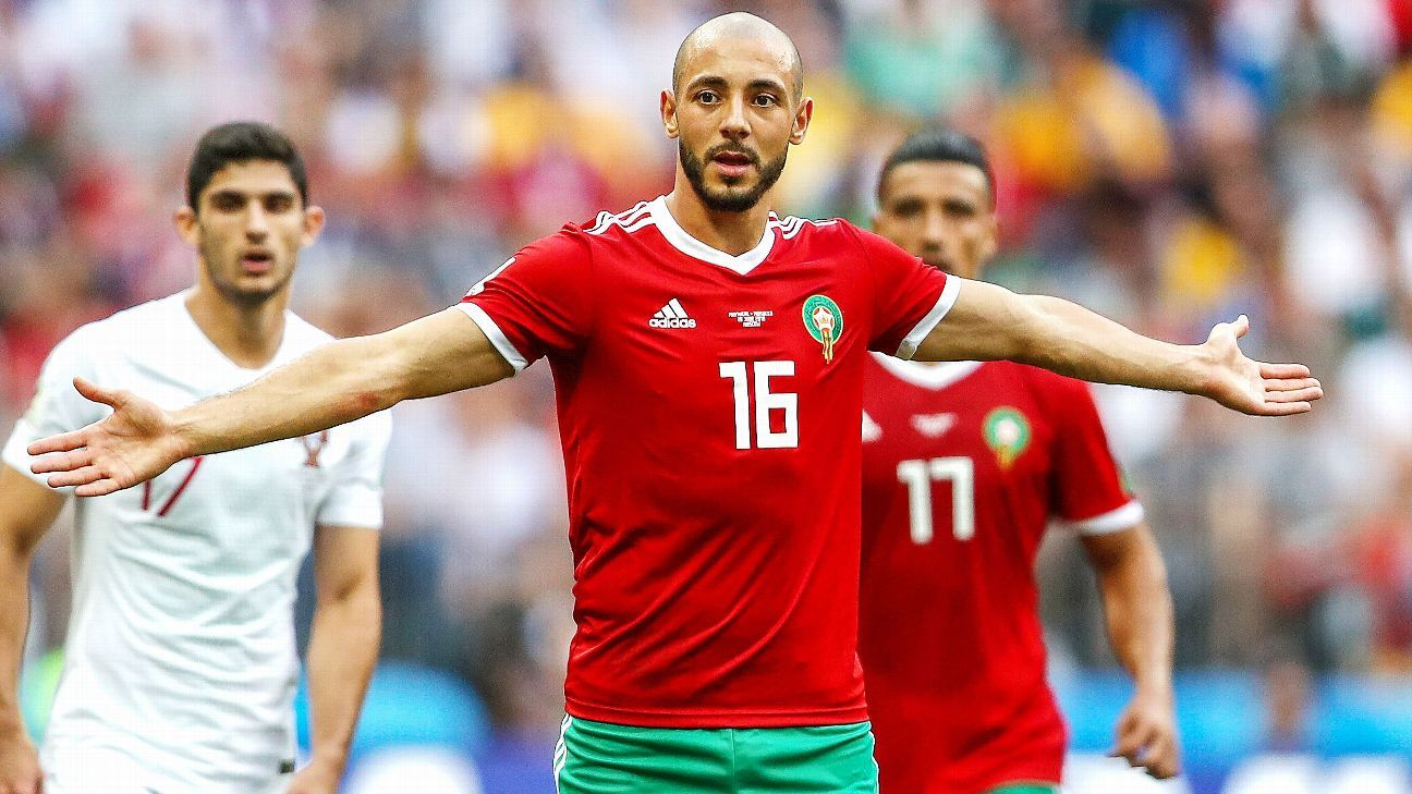 Morocco's Noureddine Amrabat reacts to a call against him.