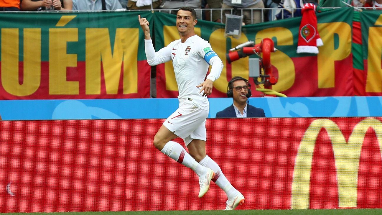 Cristiano Ronaldo of Portugal celebrates after scoring his team's first goal.