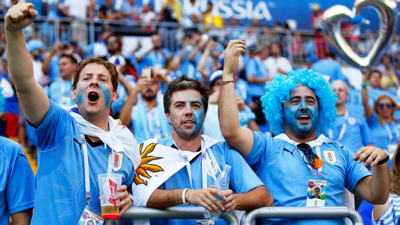 Supporters of Uruguay cheer before the match against Saudi Arabia.