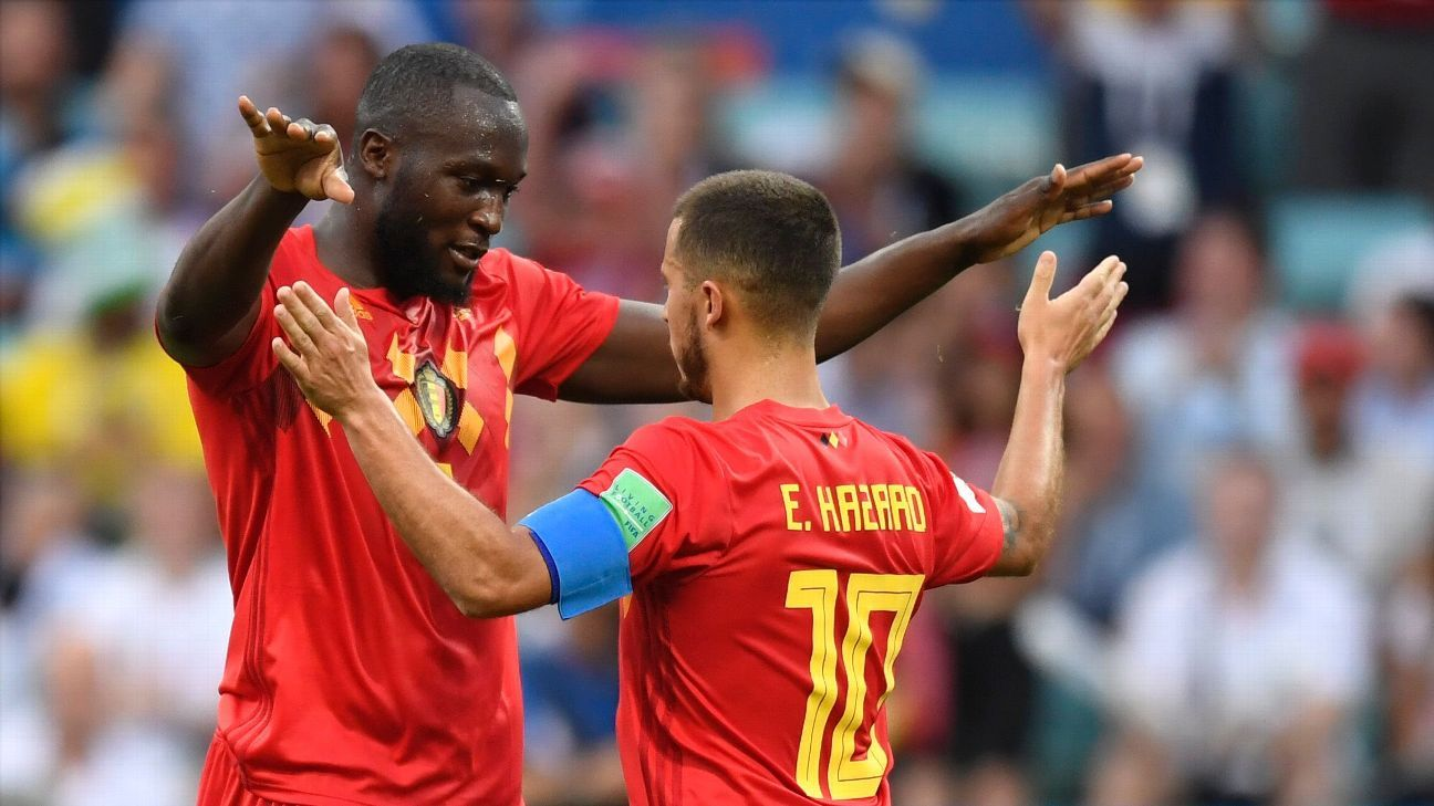 Belgium's Romelu Lukaku, left, and Eden Hazard.