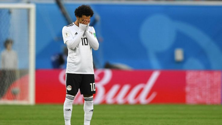 Mohamed Salah reacts after Egypt lost its second group-stage match at the World Cup.