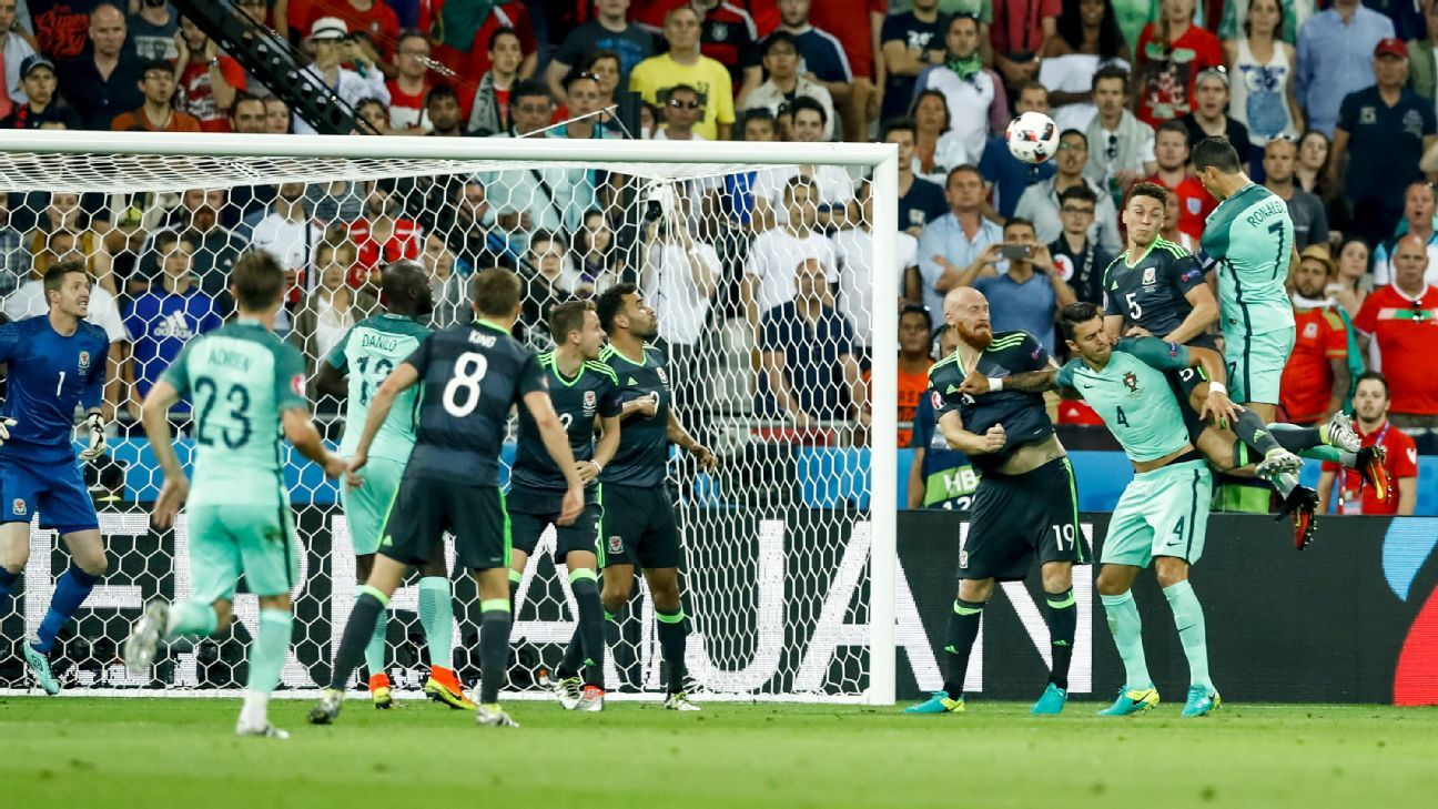 Ronaldo rises above the rest to score against Wales at Euro 2016.
