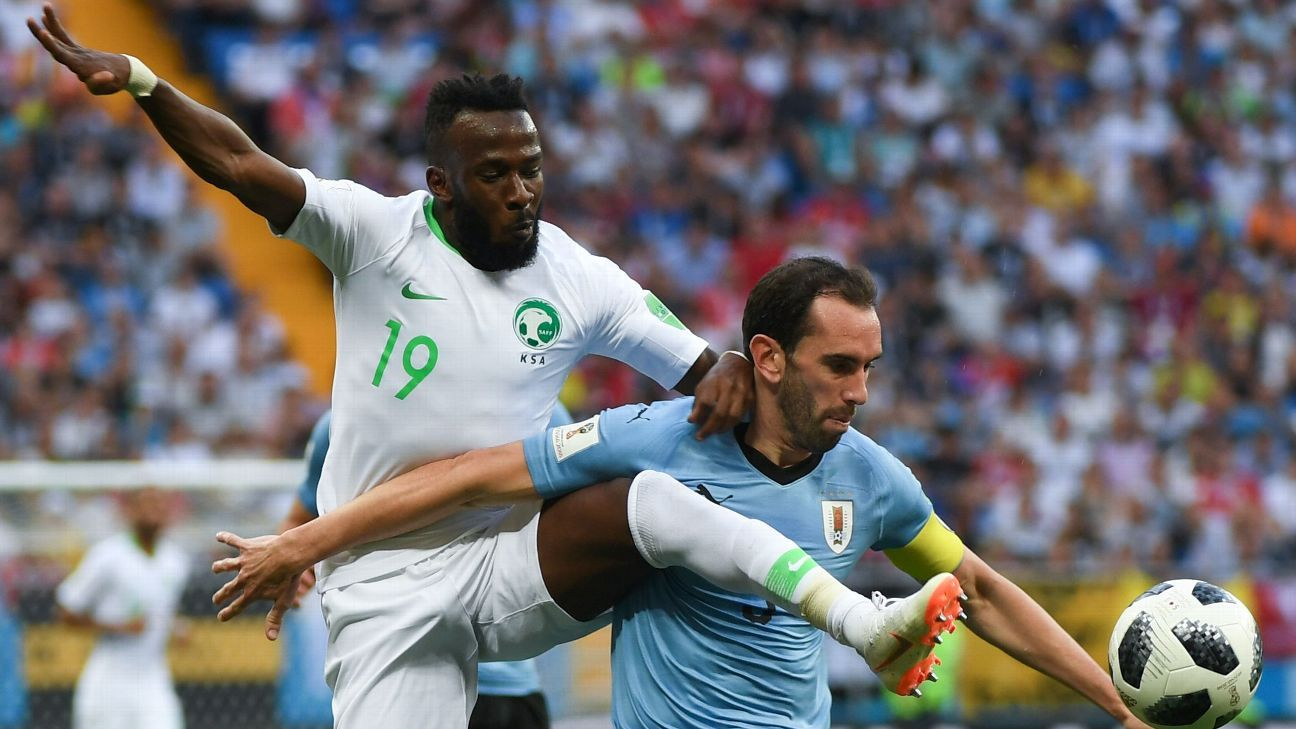 Diego Godin was his commanding best again for Uruguay against Saudi Arabia.