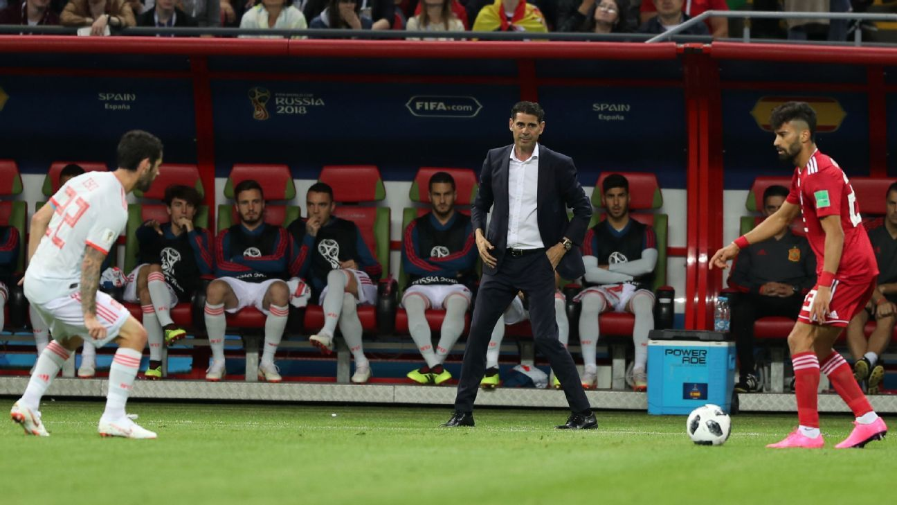 Spain head coach Fernando Hierro looks on during his team's 1-0 World Cup win against Iran.