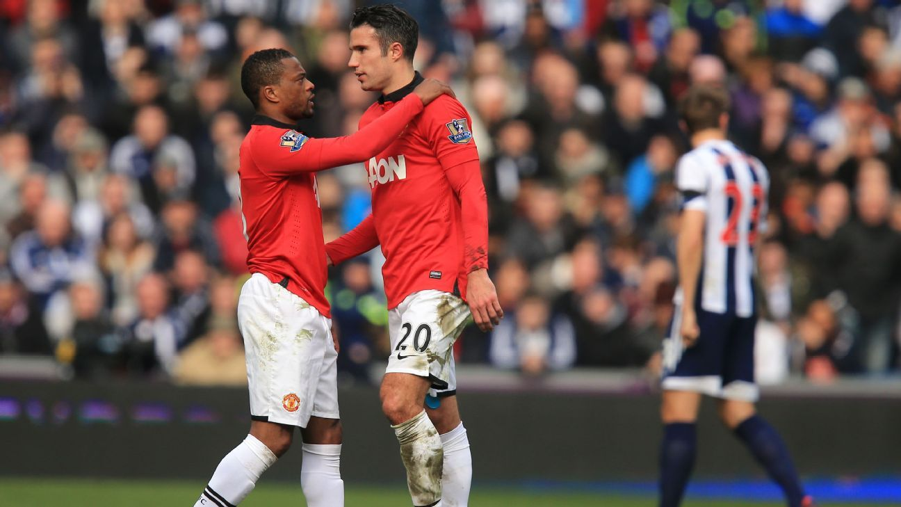 Patrice Evra Robin van Persie during their time at Manchester United.