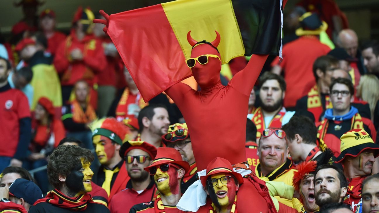 A Belgium supporter dressed as the