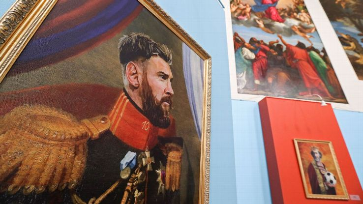 Portrait of Argentine footballer Lionel Messi by Italian artist Fabrizio Birimbelli on display at the Like the Gods exhibition featuring paintings of football stars in historical uniforms at the Museum of the Russian Academy of Arts.