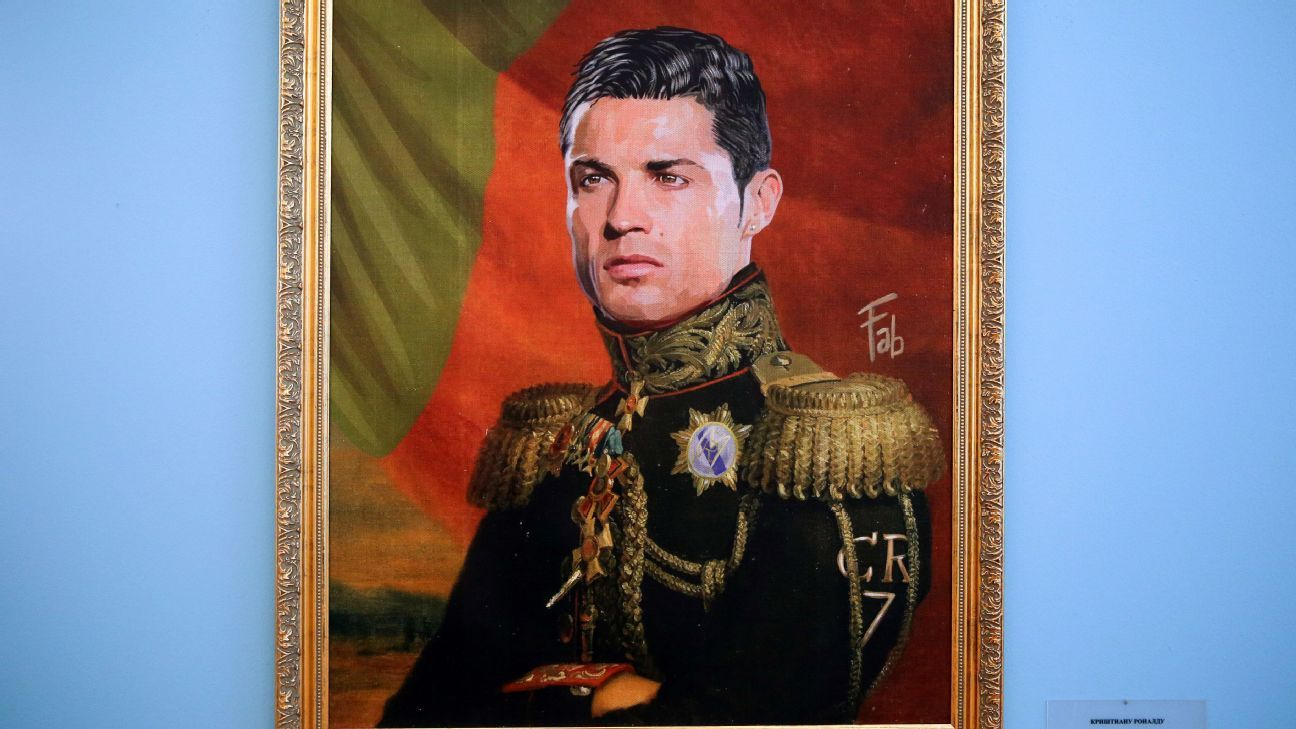 Portraits of Portuguese footballer Cristiano Ronaldo by Italian artist Fabrizio Birimbelli on display at the Like the Gods exhibition featuring paintings of football stars in historical uniforms at the Museum of the Russian Academy of Arts