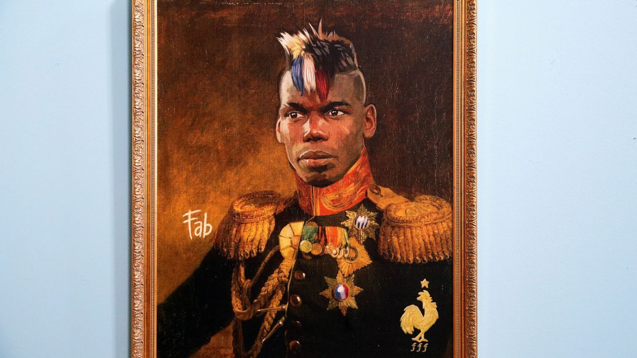 Portrait of French footballer Paul Pogba by Italian artist Fabrizio Birimbelli on display at the Like the Gods exhibition featuring paintings of football stars in historical uniforms at the Museum of the Russian Academy of Arts.