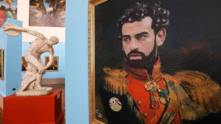 Portrait of Egyptian footballer Mohamed Salah by Italian artist Fabrizio Birimbelli on display at the Like the Gods exhibition featuring paintings of football stars in historical uniforms at the Museum of the Russian Academy of Arts.