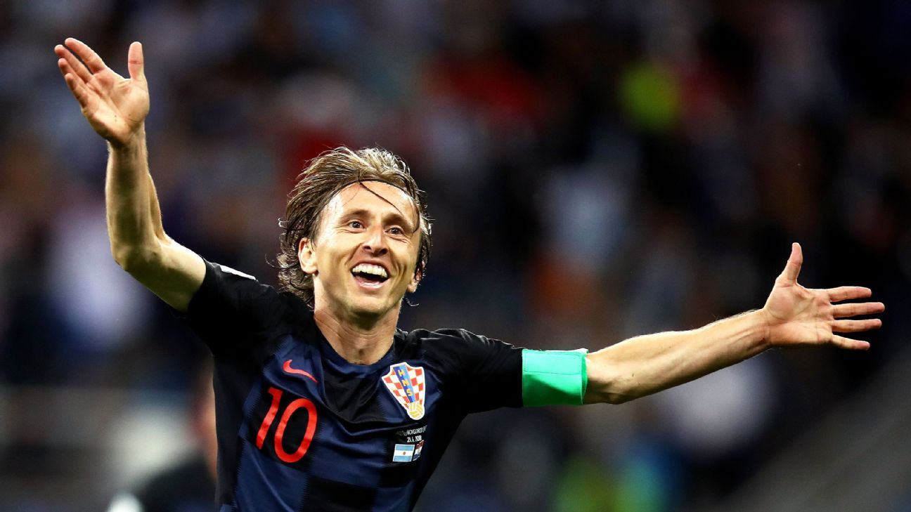 Luka Modric of Croatia celebrates after scoring his team's second goal against Argentina.