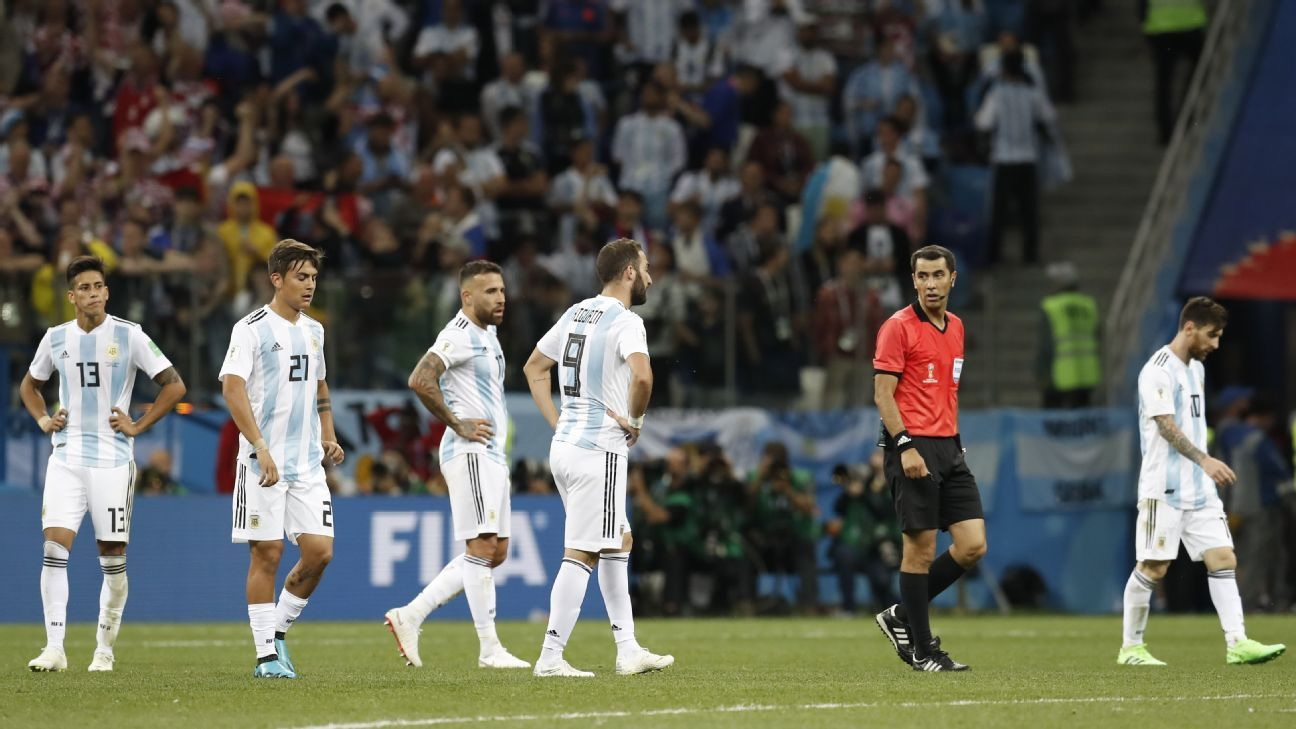 Argentina players react after their 3-0 loss to Croatia at the 2018 World Cup in Russia.
