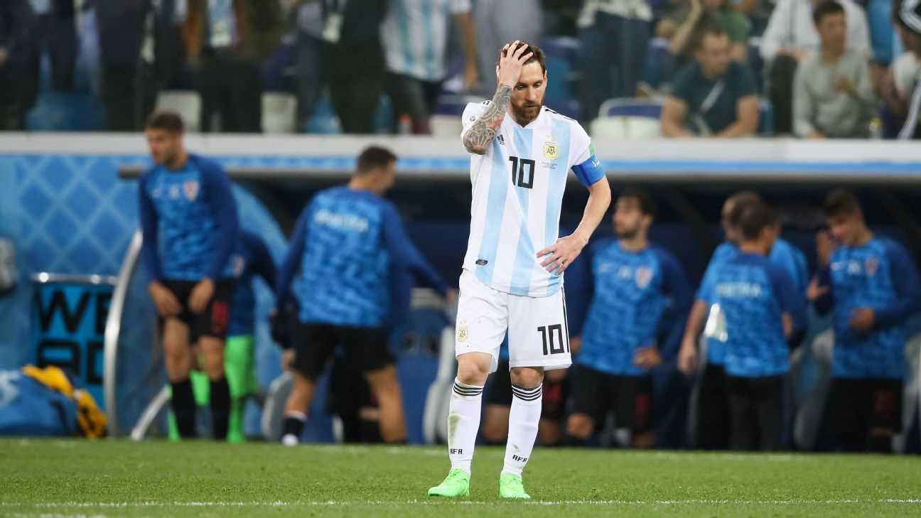Lionel Messi despondent during the 3-0 defeat to Iceland