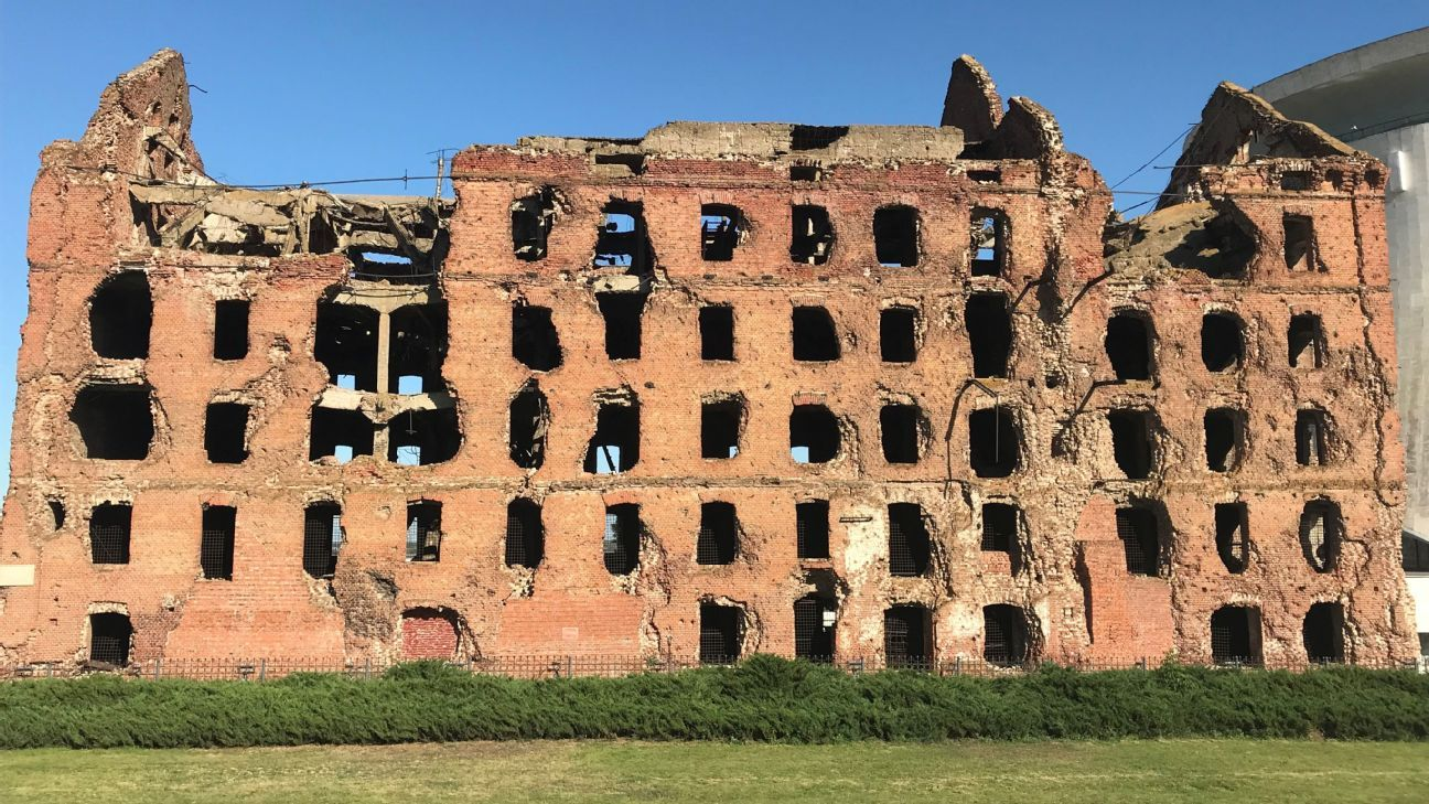The Grudinin mill is one of the few buildings in the entire city that was left standing after the Battle of Stalingrad.