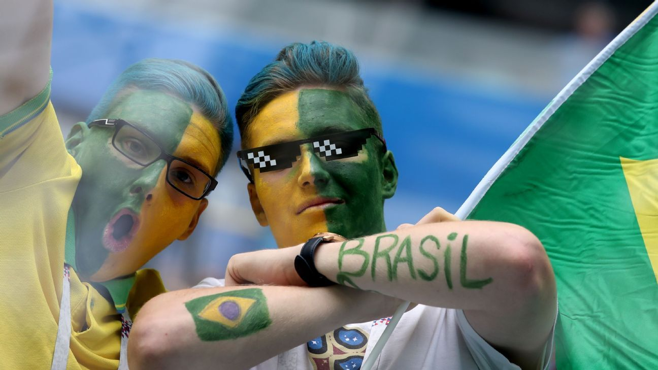 Brazil fans cheer prior to the match against Costa Rica.