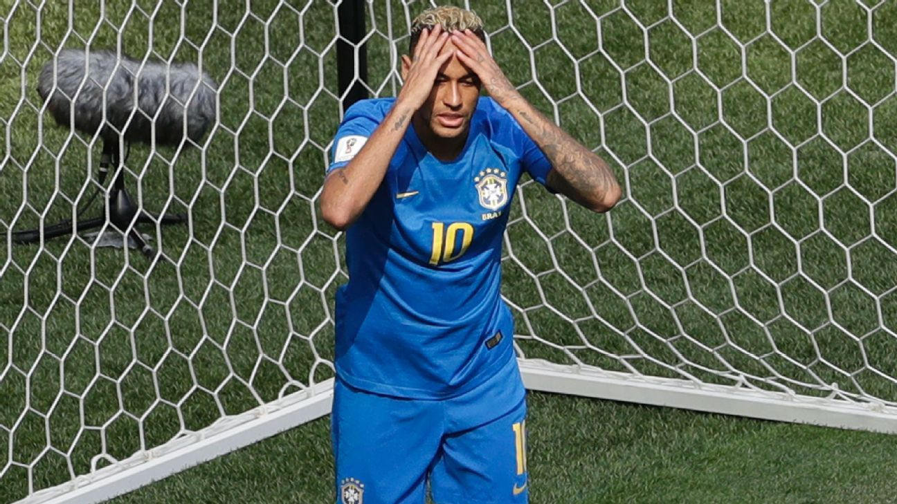 Neymar reacts during the Group E match between Brazil and Costa Rica.