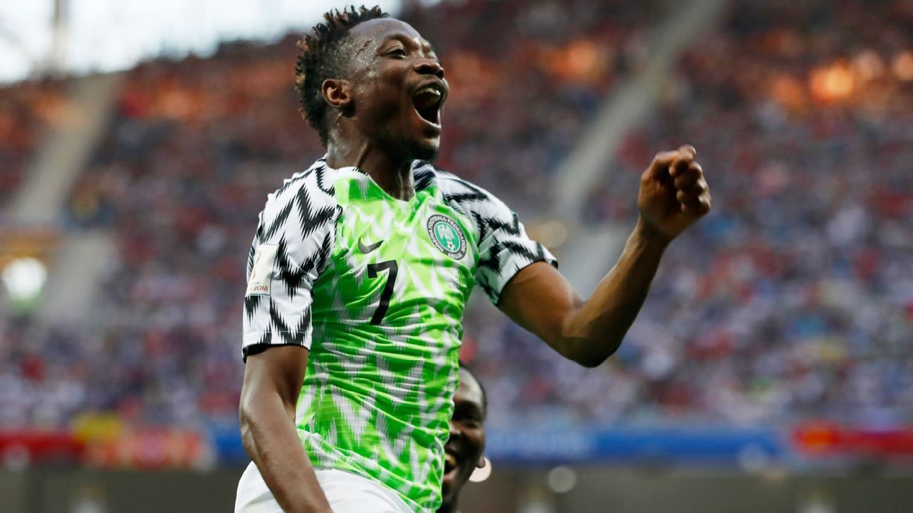 Nigeria's Ahmed Musa celebrates his team's second goal during the group D match between Nigeria and Iceland at the 2018 soccer World Cup in the Volgograd Arena in Volgograd, Russia, Friday, June 22, 2018.
