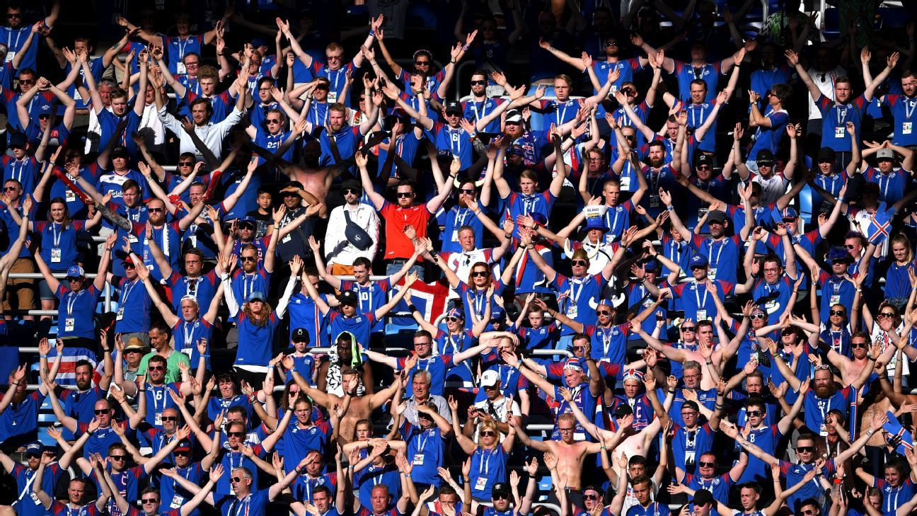 Iceland fans show their support at the Volgograd Arena where they lost 2-0 to Nigeria.
