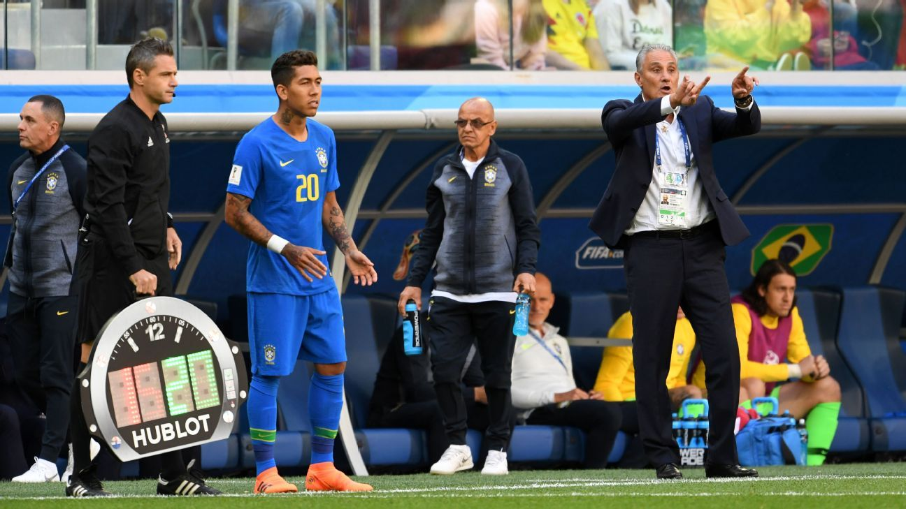 Tite pulls hamstring celebrating late Brazil goal against Costa Rica at World Cup