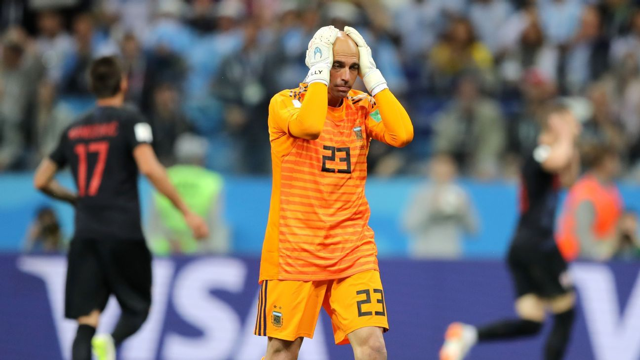 Wilfredo Caballero of Argentina looks dejected