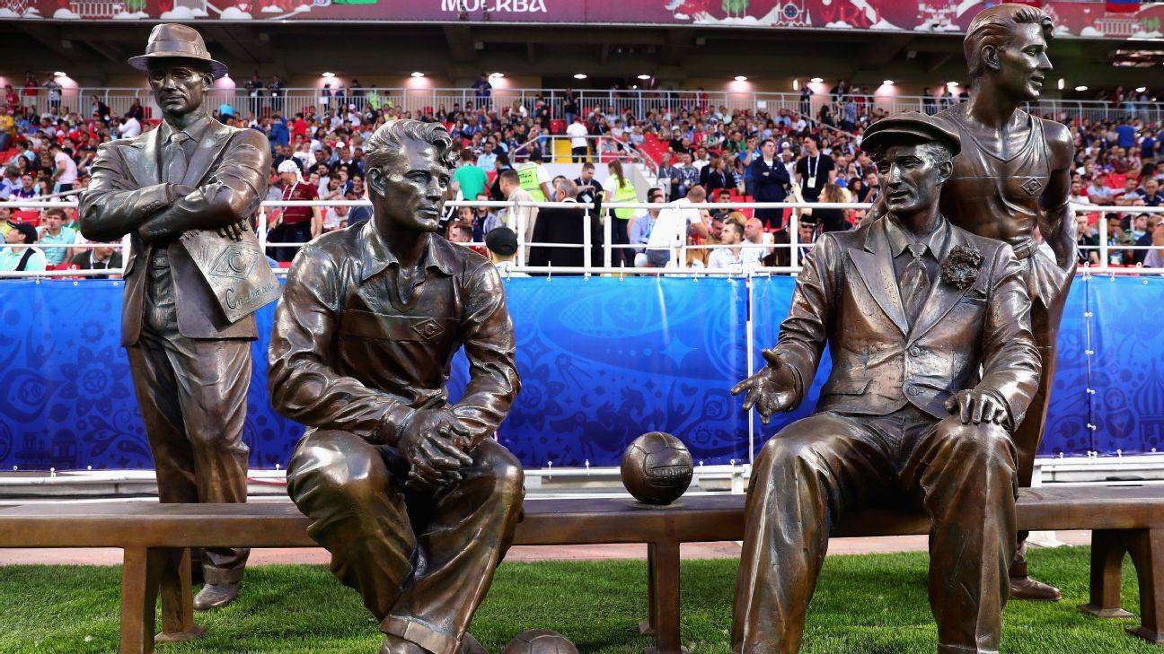 The statue of the Starostin brothers inside Moscow's Spartak Stadium.