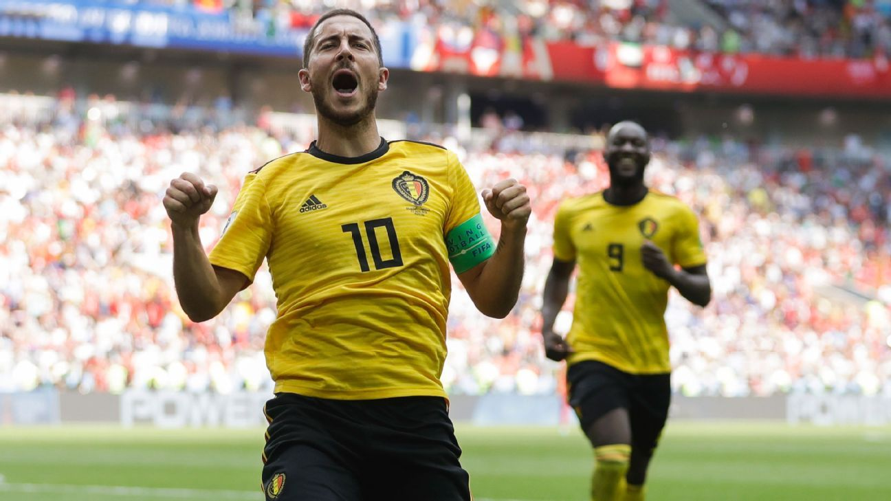 Eden Hazard celebrates after scoring his side's fourth goal.