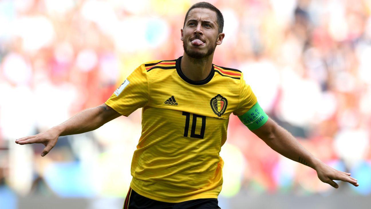 Eden Hazard of Belgium celebrates after scoring his team's fourth goal.