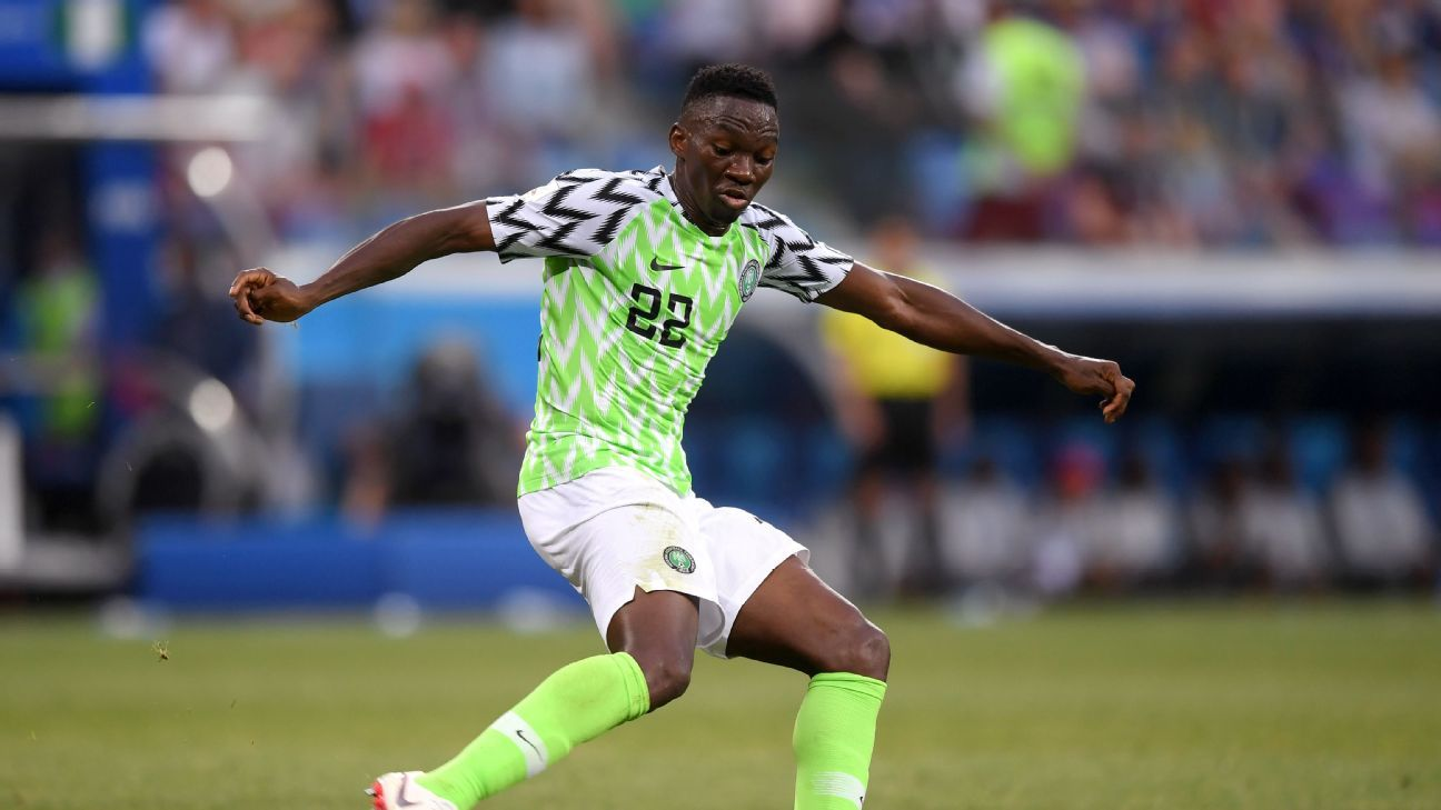 Kenneth Omeruo of Nigeria passes the ball