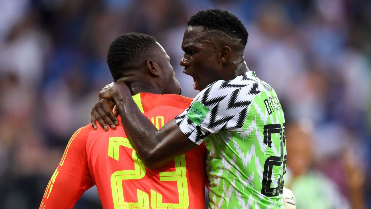Francis Uzoho of Nigeria celebrates with team mate Kenneth Omeruo