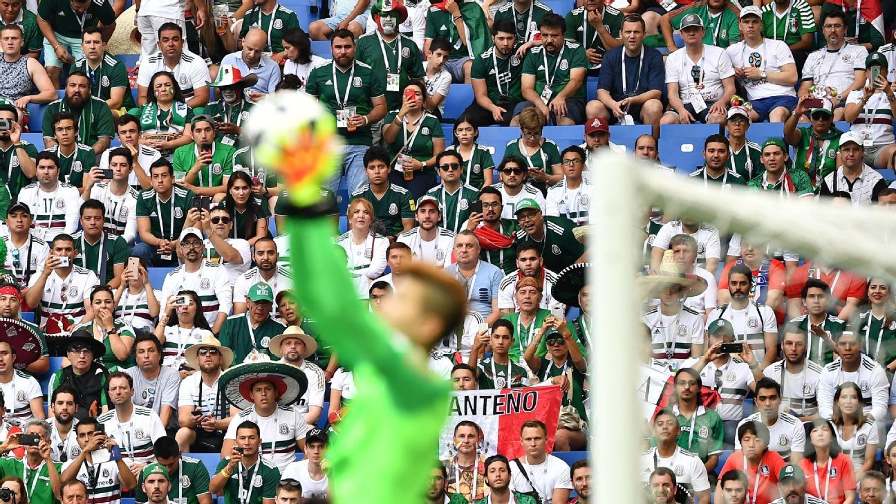 Mexico fans look on as South Korea goalkeeper Cho Hyun-woo makes a save during their World Cup clash