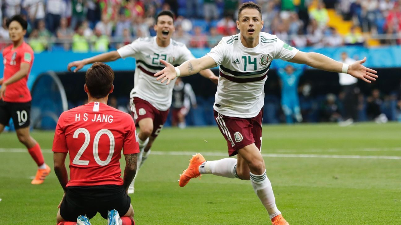 Javier Hernandez celebrates after scoring his side's second goal against South Korea.