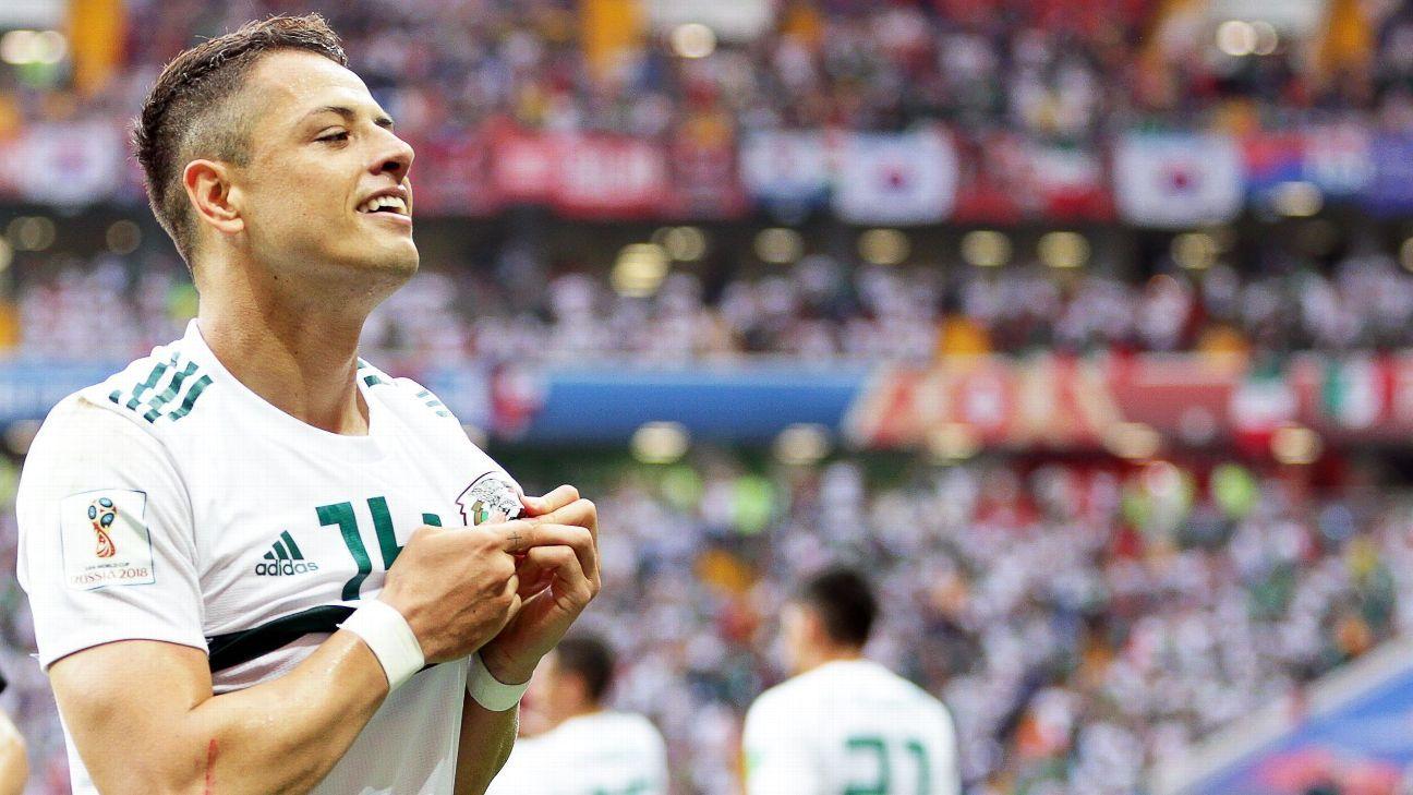 Javier Hernandez celebrates after scoring Mexico's second goal.